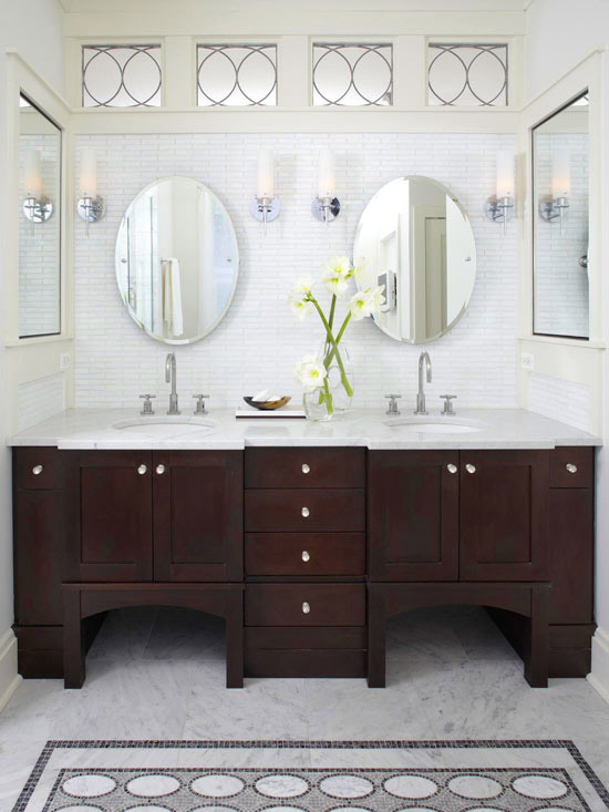 Boxwood clippings design dilemma - Round mirror over bathroom vanity ...