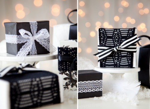 boxwood clippings_black, white and lace gift wrap