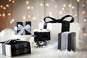 boxwood clippings_gift wrap, black, white and lace