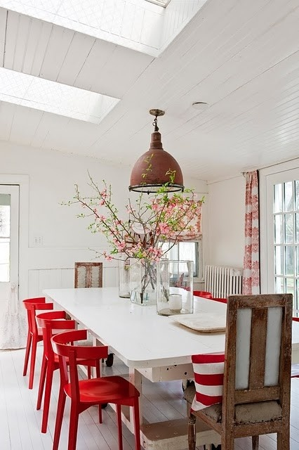 boxwoodclippings_red kitchen chairs