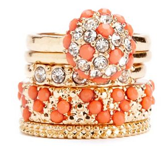 boxwoodclippings_coral stacked rings