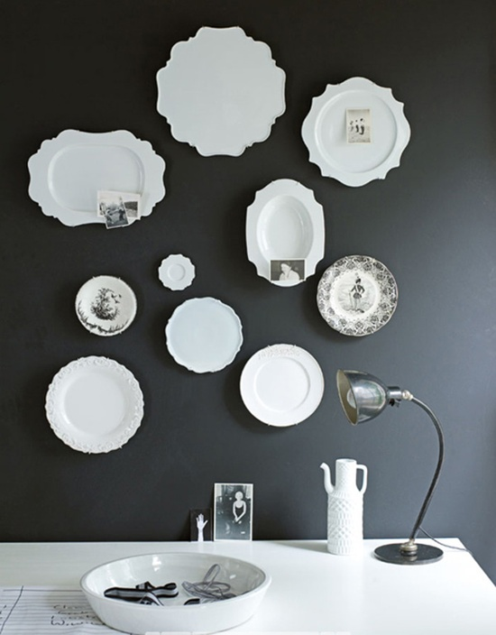 boxwoodclippings_white plates on black wall