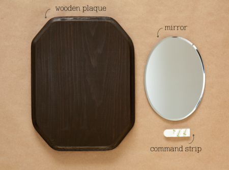 boxwood  clippings_wooden plaque mirror