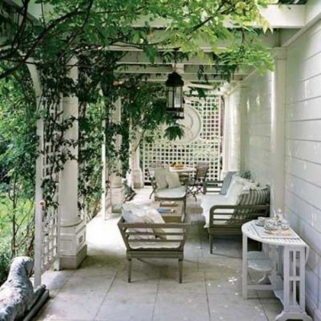 whitewashed porch and trellis