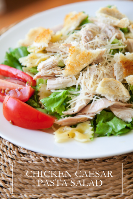 boxwood clippings_chicken caesar pasta salad