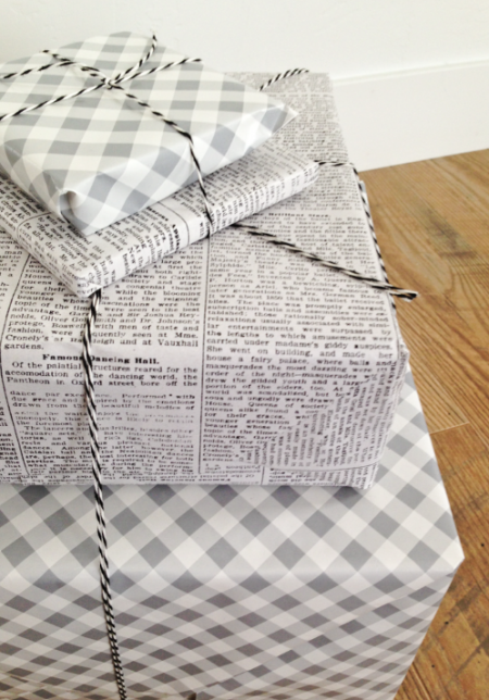 boxwood clippings_grey and white gift wrap