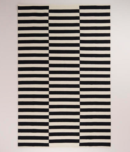 boxwoodclippings_world market black and white stripe rug