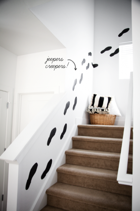 boxwood clippings_diy black footprints up stairs_halloween