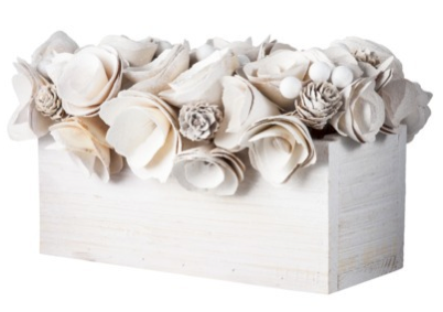 boxwoodclippings_target wooden flower centerpiece