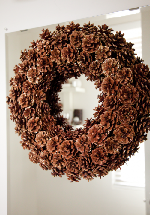 boxwood clippings_brown + silver christmas decorations
