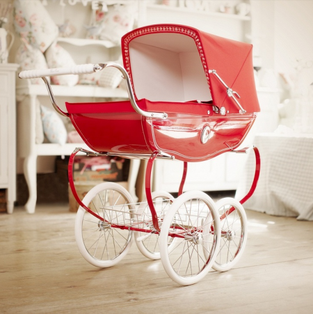 boxwood clippings_red silver cross dolls pram
