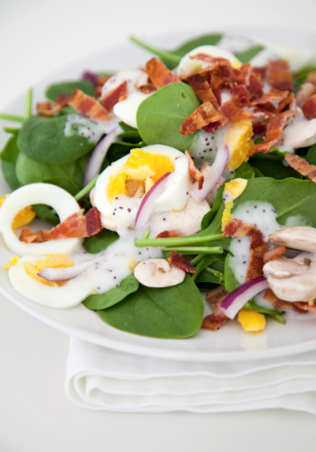 boxwood clippings_spinach, egg and bacon salad