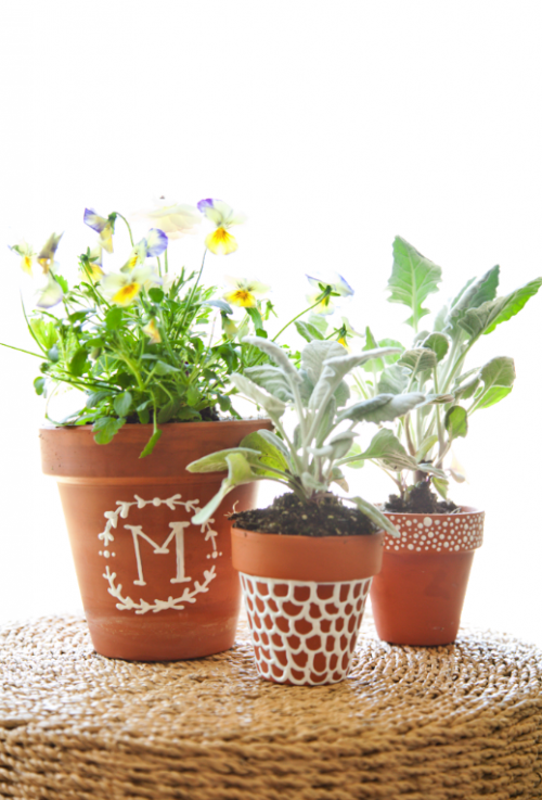 lil luna_boxwood clippings_monogramn plant pot