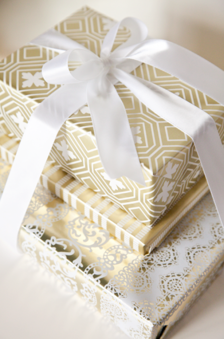 boxwood clippings_gold wrapping paper