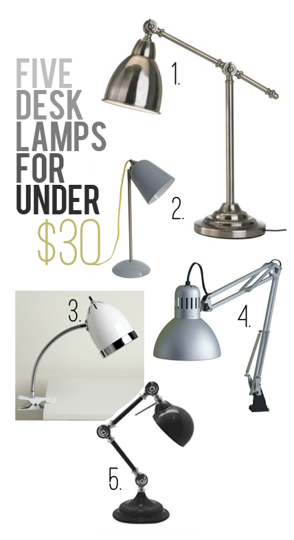 boxwood clippings_5 desk lamps for under $30