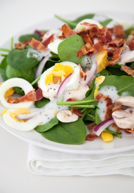 boxwoodclippings_spinach, egg and bacon salad