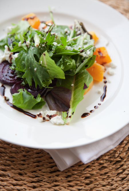 boxwood clippings_butternut squash, beet and goat cheese salad