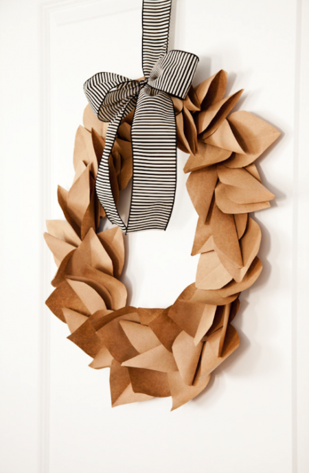boxwood clippings_wreath made from brown paper bags, completly free!