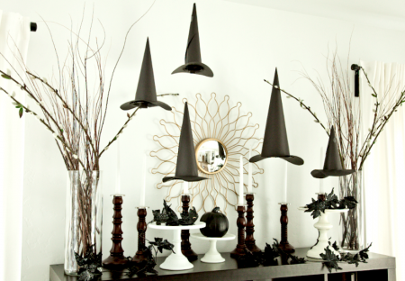 boxwood clippings_diy floating witches hat decorations