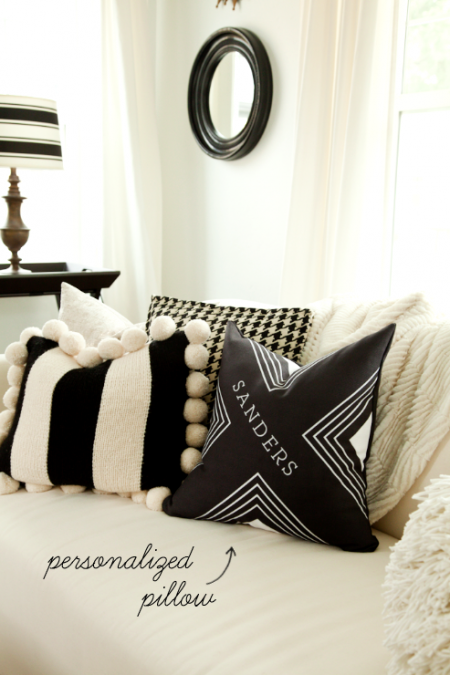 boxwood clippings_black and white living room: personalized pillow from tiny prints