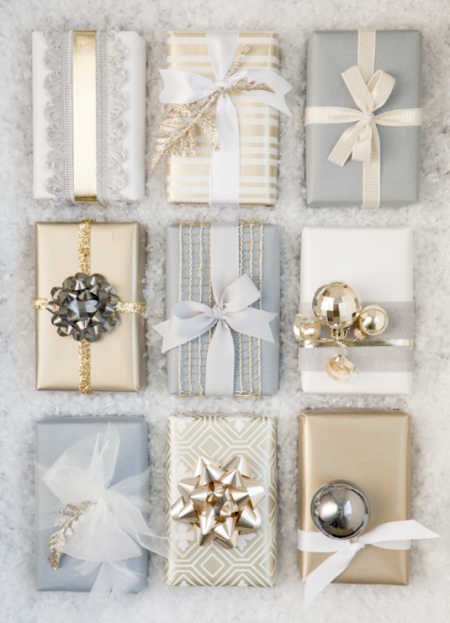 Christmas Gift Wrap: Grey and Gold | Boxwood Clippings