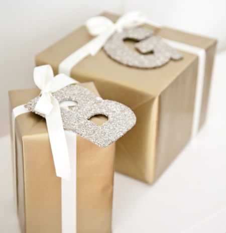 boxwood clippings_gold and cream gift wrap with glitter letters