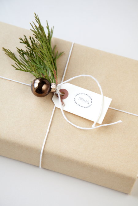 boxwood clippings_a simple brown paper gift wrap
