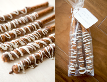 boxwood clippings_chocolate dipped pretzel