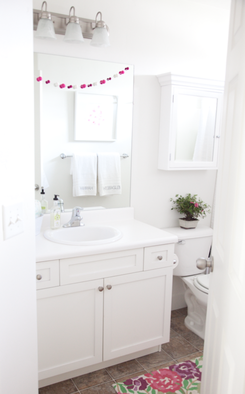 boxwood clippings simple kid bathroom white and pink