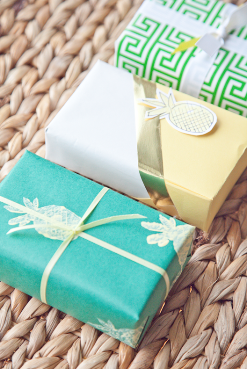 pineapple gift wrap | boxwood clippings