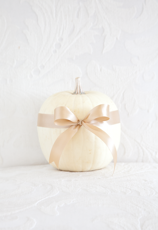 boxwood clippings | bows on pumpkins