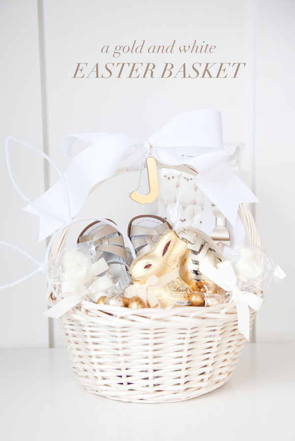 boxwood clippings | a gold and white easter basket