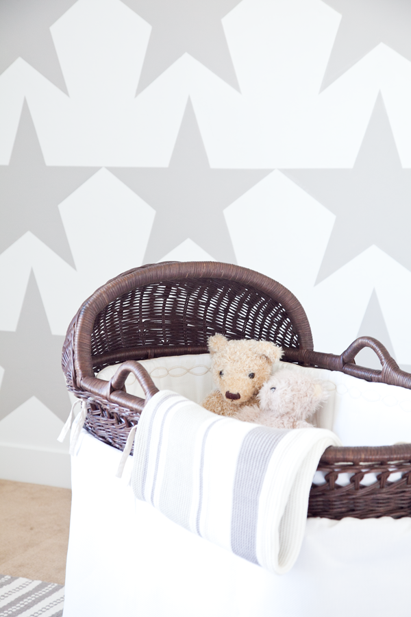 boxwood clippings   painted star wall   modern grey nursery