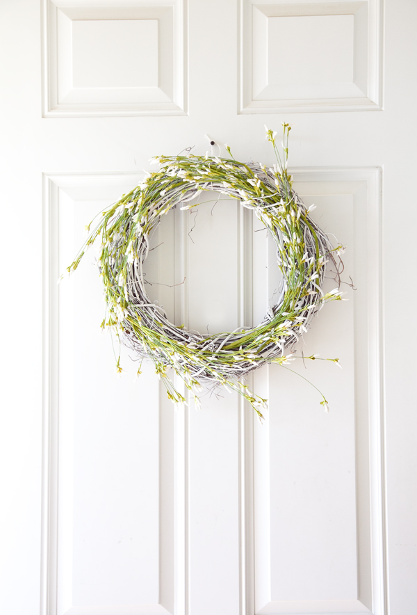 spring wreath boxwood clippings